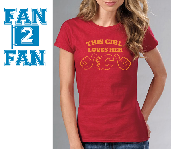 Red This Girl or Guy Man Loves the Calvary Flames Hockey Tee Tshirt T-Shirt