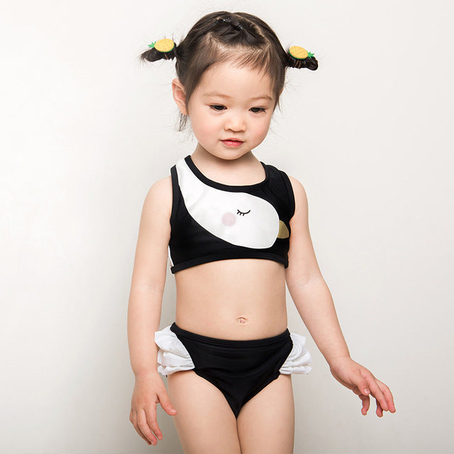 c5f9024b1d Funfeliz Children Swimwear Biquini infantil swimsuit girls Swan two pieces  bathing suit Cute Kids bikini Baby