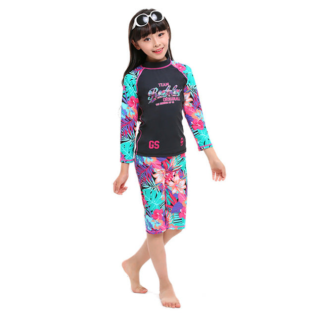 2de2c25cadb GS Girls Swimwear Kids 2018 Long Sleeve Swimsuit Children Swim Beachwear  Surfing Two Piece Bathing Suit