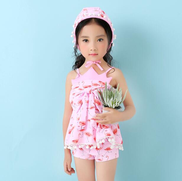 a5d0ce19d6180 Girls Swimwear Cute Kids Swimsuit with Swimming Cap Swan Flamingo 2018 baby girl  bathing suit Two