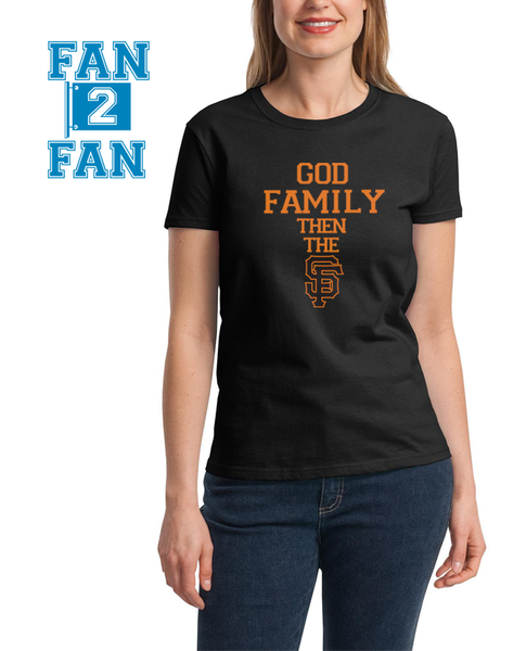 Black Custom 1 Color God Family then the SF San Francisco Giants Baseball Tee Tshirt T-Shirt