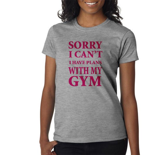 Gray Sorry I can't I have plan with my gym rat lift Excerise Yoga Pilates Football Tee Tshirt T-Shirt