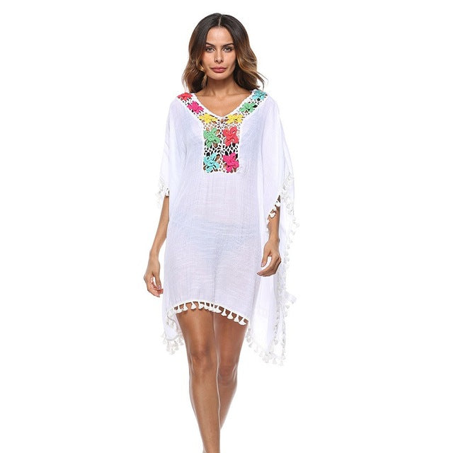954fafa6abfc4 IASKY 2018 New Bikini cover up Crochet Loose beach dress Kaftan Swimwear  Tunic Swimsuit Bathing Suit