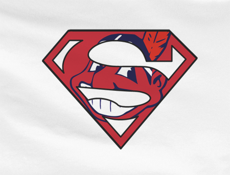 White Dyesub Cleveland Indians Superteam Superman Tee Tshirt T-Shirt Batman Wonder Woman
