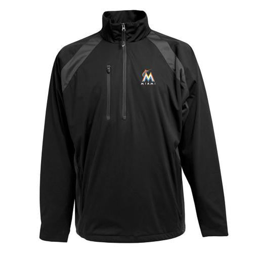 Miami Marlins MLB Rendition Men's Sports Pullover (Black) (Medium)
