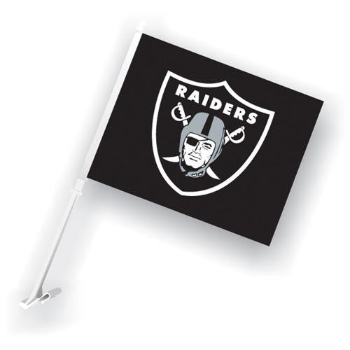 Oakland Raiders NFL Car Flag with Wall Brackett