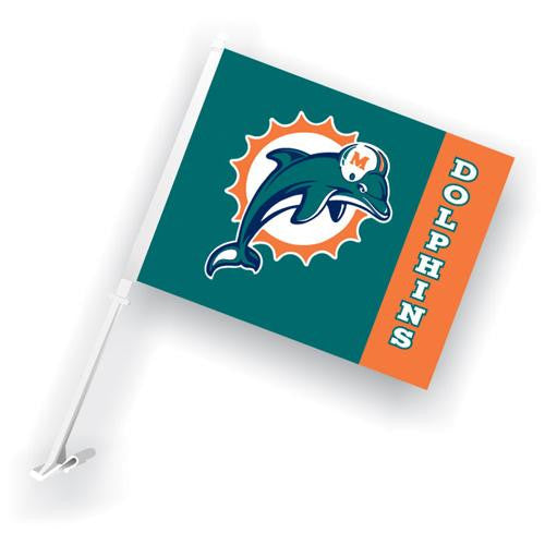 Miami Dolphins NFL Car Flag with Wall Brackett