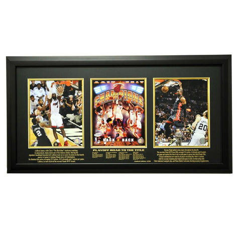 2012-2013 Miami Heat Champions Limited Edition Triple 8x10 Frame, Black