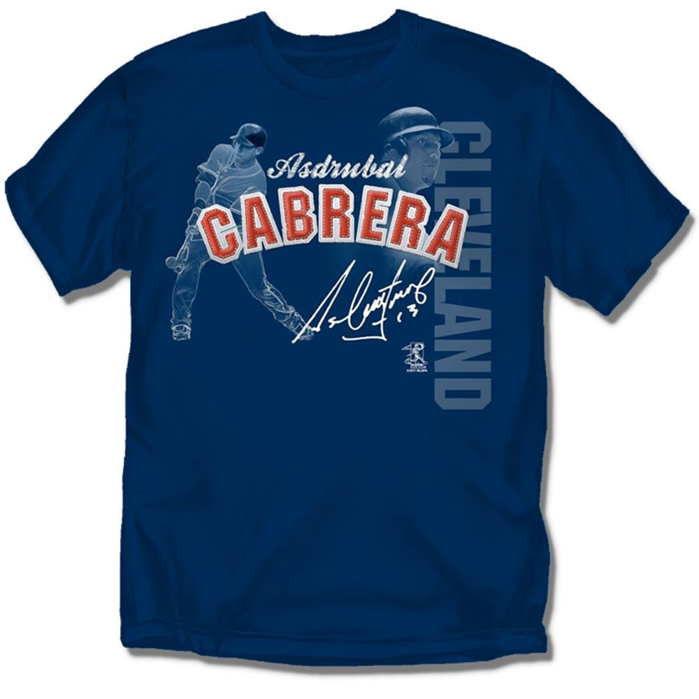 Cleveland Indians MLB Asdrubal Cabrera #13 Players Stitch Mens Tee (Navy) (2X Large)