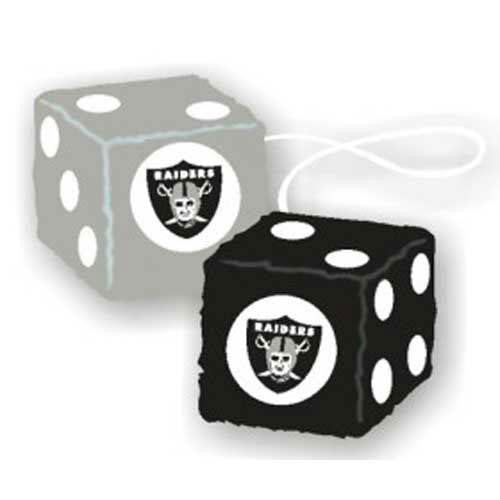 Oakland Raiders NFL 3 Car Fuzzy Dice