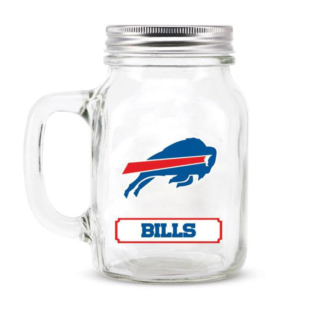 Buffalo Bills NFL Mason Jar Glass With Lid