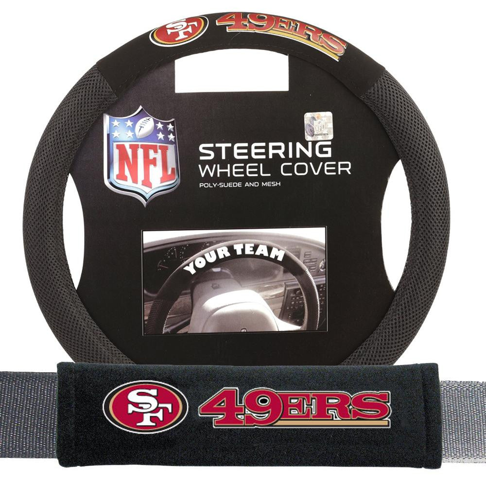 San Francisco 49ers NFL Steering Wheel Cover and Seatbelt Pad Auto Deluxe Kit