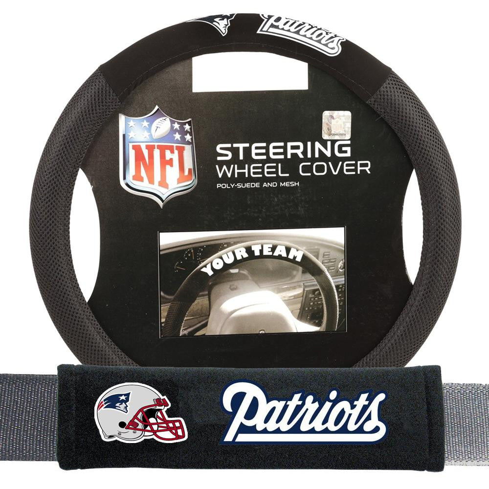 New England Patriots NFL Steering Wheel Cover and Seatbelt Pad Auto Deluxe Kit