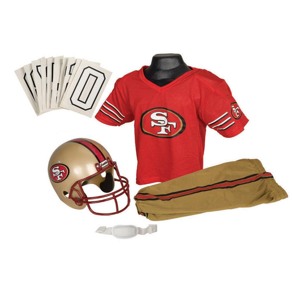 San Francisco 49ers Youth NFL Deluxe Helmet and Uniform Set (Small)