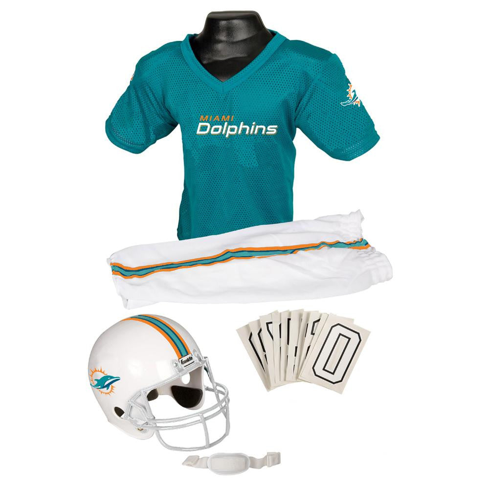 Miami Dolphins Youth NFL Deluxe Helmet and Uniform Set