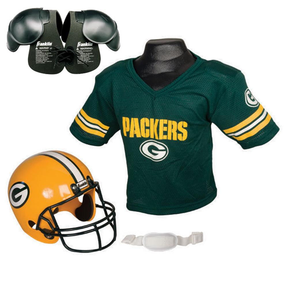 Discount Green Bay Packers Youth NFL Helmet and Jersey SET with Shoulder Pads  free shipping