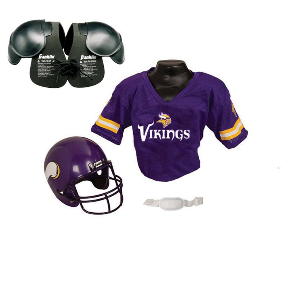 b345ebd39 Minnesota Vikings Youth NFL Helmet and Jersey SET with Shoulder Pads ...
