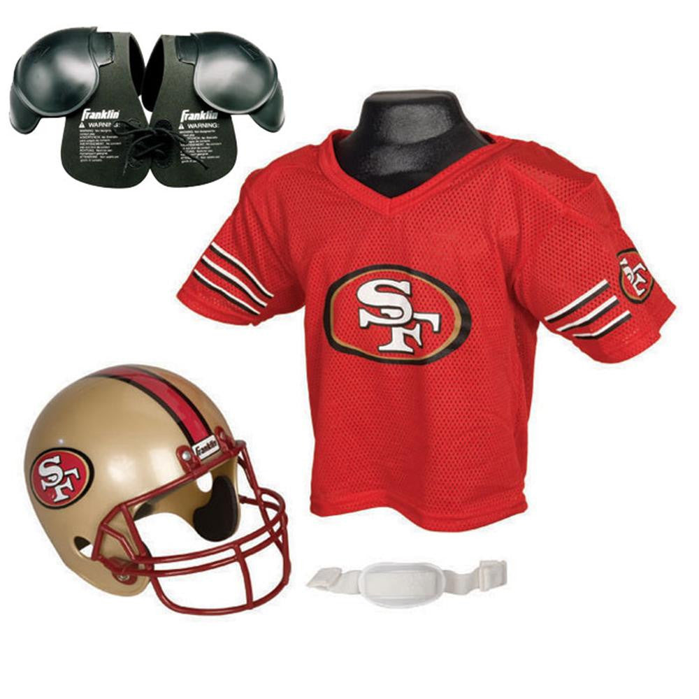 San Francisco 49ers Youth NFL Helmet and Jersey SET with Shoulder Pads