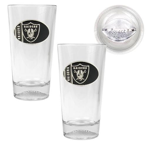 Oakland Raiders NFL 2pc Pint Ale Glass Set with Football Bottom - Oval Logo