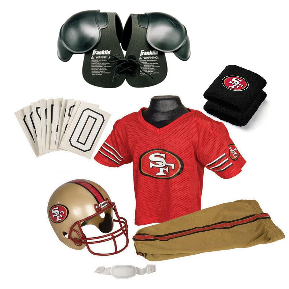 San Francisco 49ers Youth NFL Ultimate Helmet and Uniform Set (Medium)
