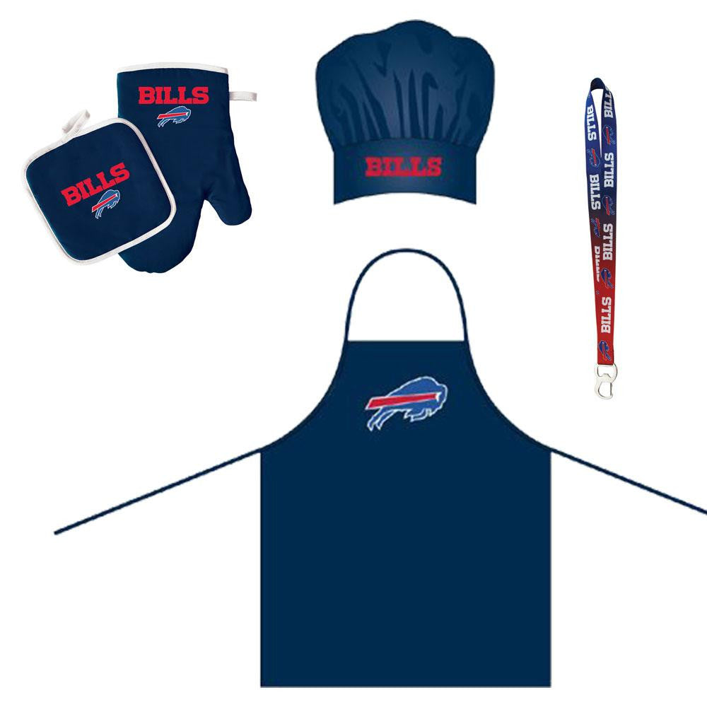 Buffalo Bills NFL Barbeque Apron and Chef's Hat and Oven Mitt with Bottle Opener xyz