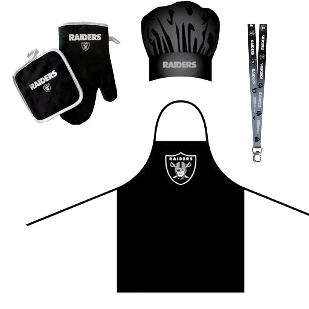Oakland Raiders NFL Barbeque Apron and Chef's Hat and Oven Mitt with Bottle Opener