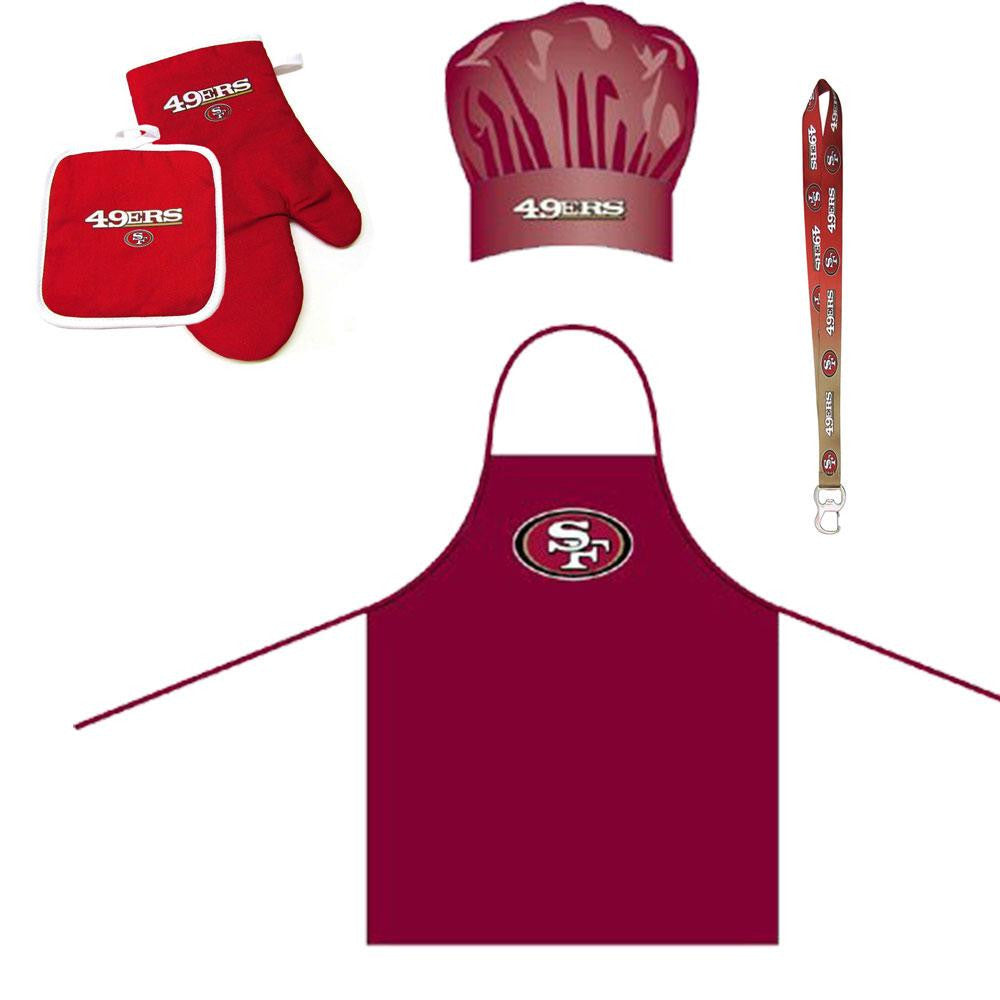 San Francisco 49ers NFL Barbeque Apron and Chef's Hat and Oven Mitt with Bottle Opener