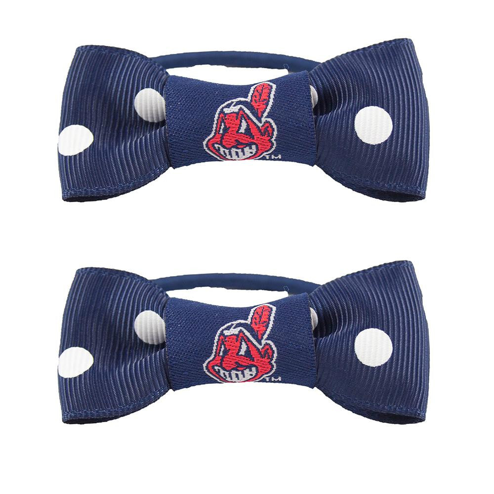 Cleveland Indians MLB Bow Pigtail Holder