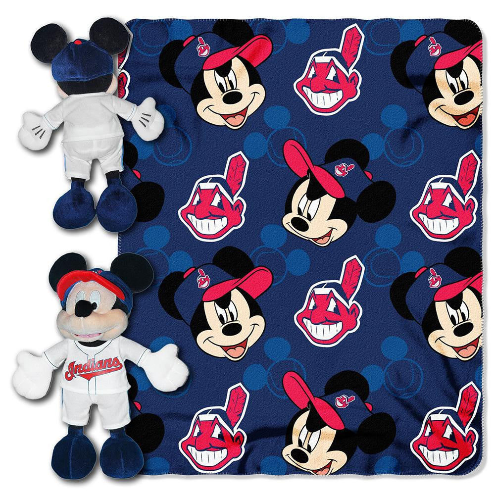 Cleveland Indians MLB Mickey Mouse with Throw Combo