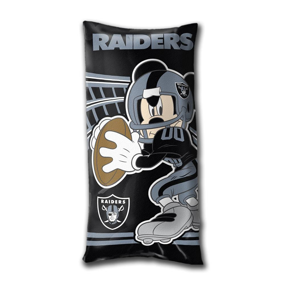 Oakland Raiders NFL Mickey Folded Body Pillow (18in x 36in)