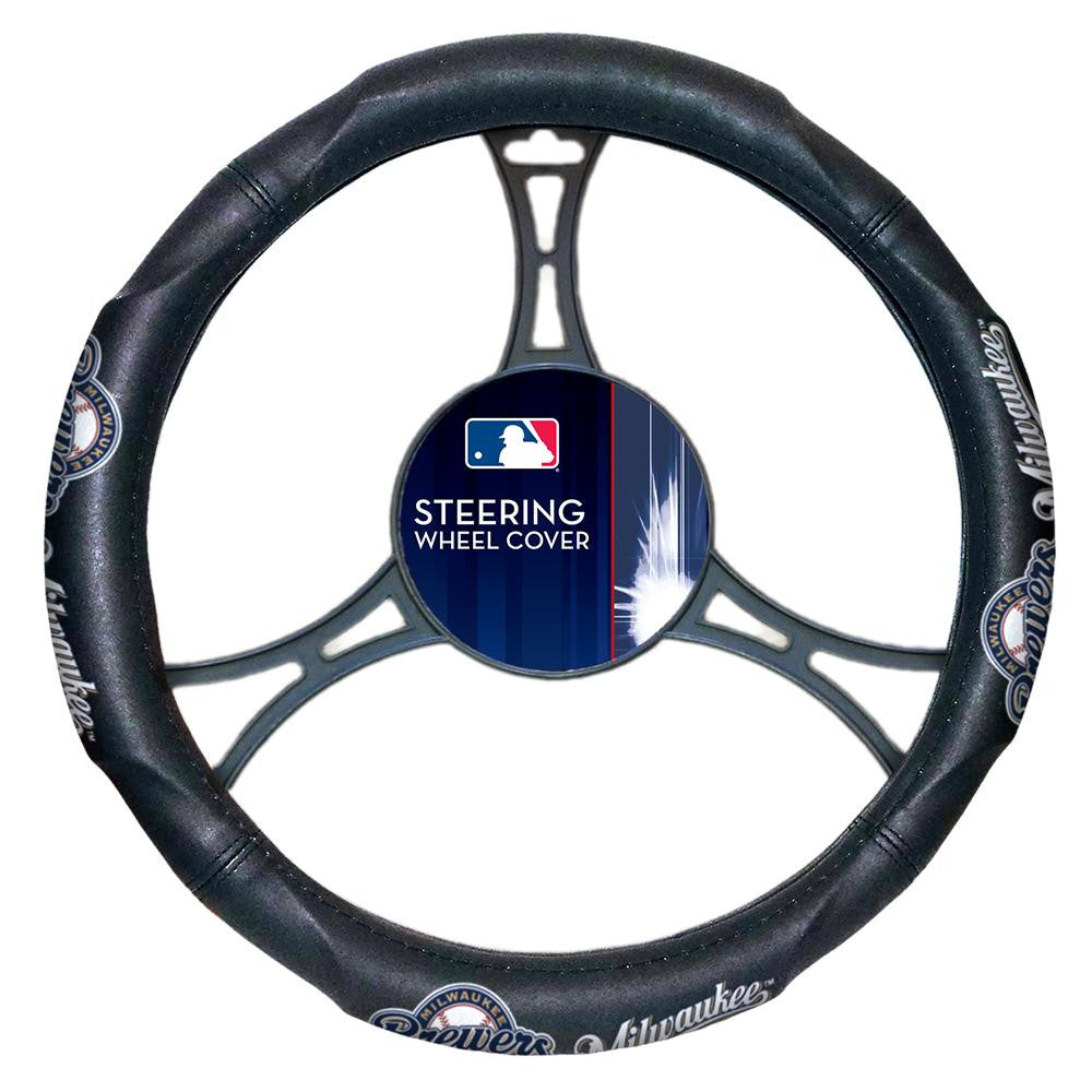 Milwaukee Brewers MLB Steering Wheel Cover (14.5 to 15.5)