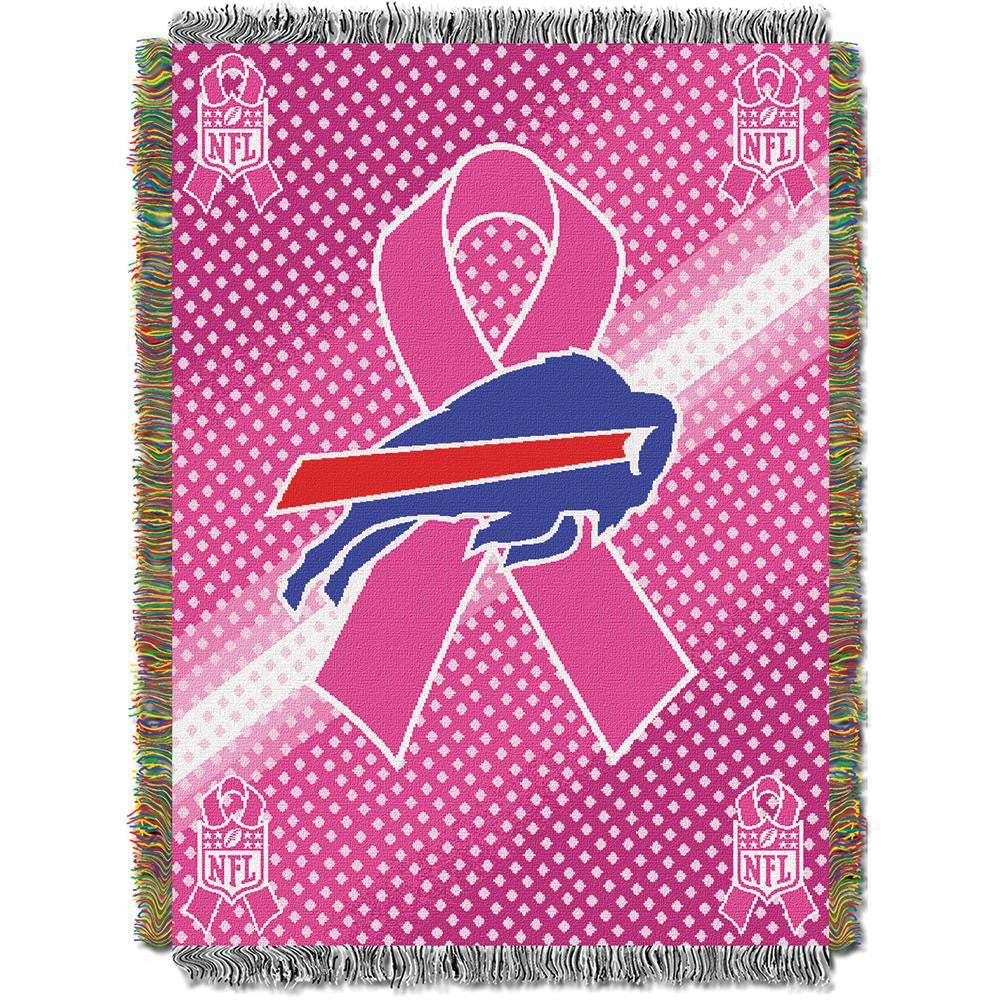 Buffalo Bills NFL Woven Tapestry Throw (Breast Cancer Awareness) (48x60)