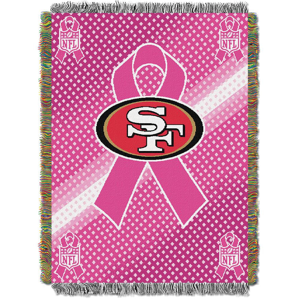 San Francisco 49ers NFL Woven Tapestry Throw (Breast Cancer Awareness) (48x60)
