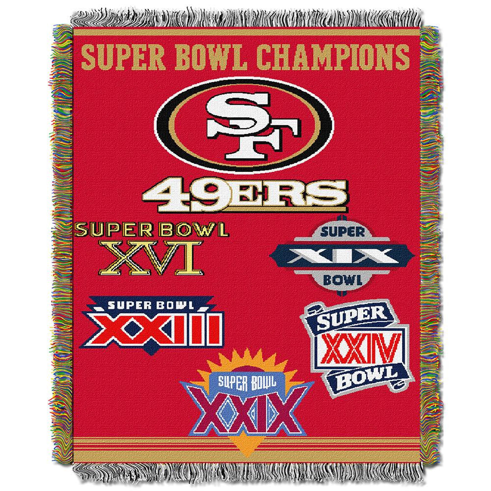 San Francisco 49ers NFL Super Bowl Commemorative Woven Tapestry Throw (48x60)