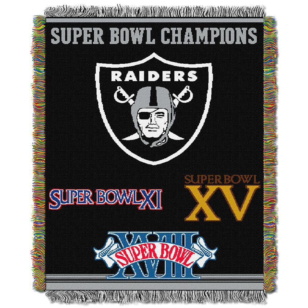 Oakland Raiders NFL Super Bowl Commemorative Woven Tapestry Throw (48x60)