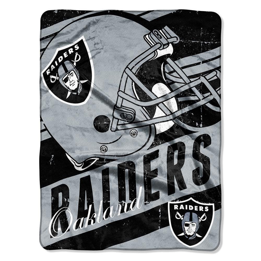 Oakland Raiders NFL Micro Raschel Blanket (Deep Slant Series) (46in x 60in)
