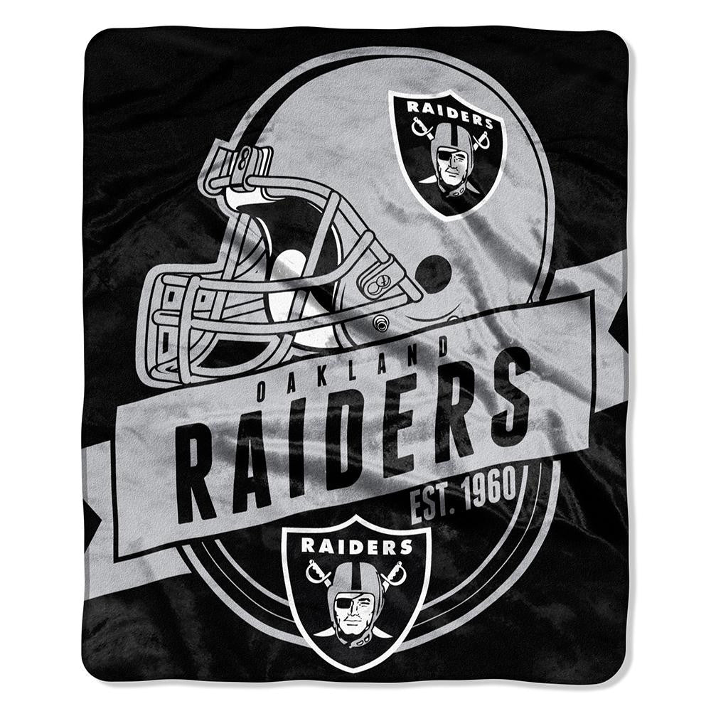 Oakland Raiders NFL Royal Plush Raschel Blanket (Grand Stand Raschel) (50in x 60in)