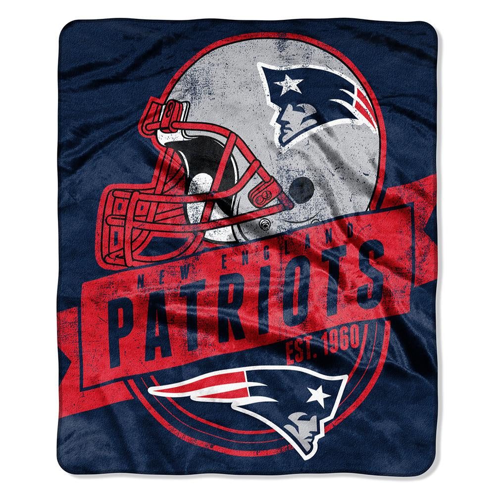 New England Patriots NFL Royal Plush Raschel Blanket (Grand Stand Raschel) (50in x 60in)