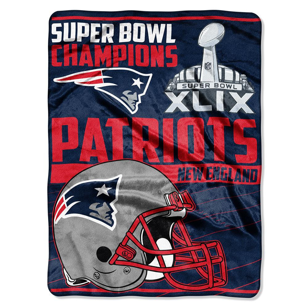 New England Patriots NFL Super Bowl 49 Champions Royal Plush Raschel Blanket (60inx80in)
