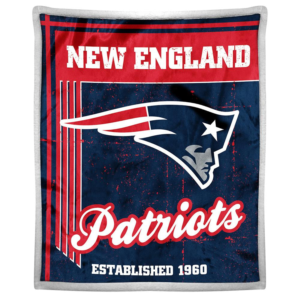 New England Patriots NFL Mink Sherpa Throw (50in x 60in)