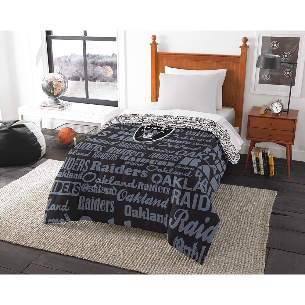Oakland Raiders NFL Twin Comforter (Anthem) (64 x 86)