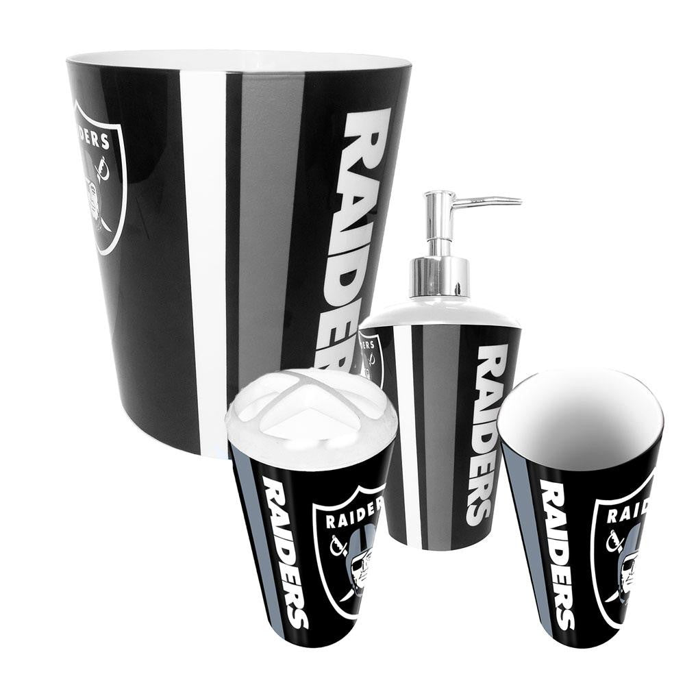 Oakland Raiders NFL Complete Bathroom Accessories 4pc Set xyz