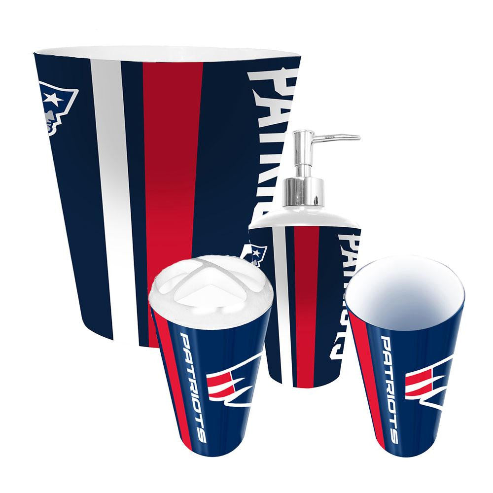New England Patriots NFL Complete Bathroom Accessories 4pc Set xyz