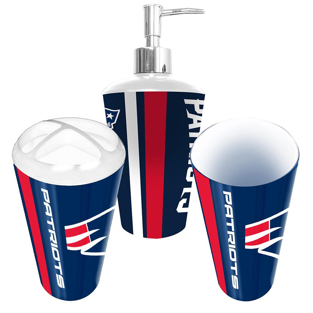 New England Patriots NFL Bath Tumbler, Toothbrush Holder & Soap Pump (3pc Set) xyz