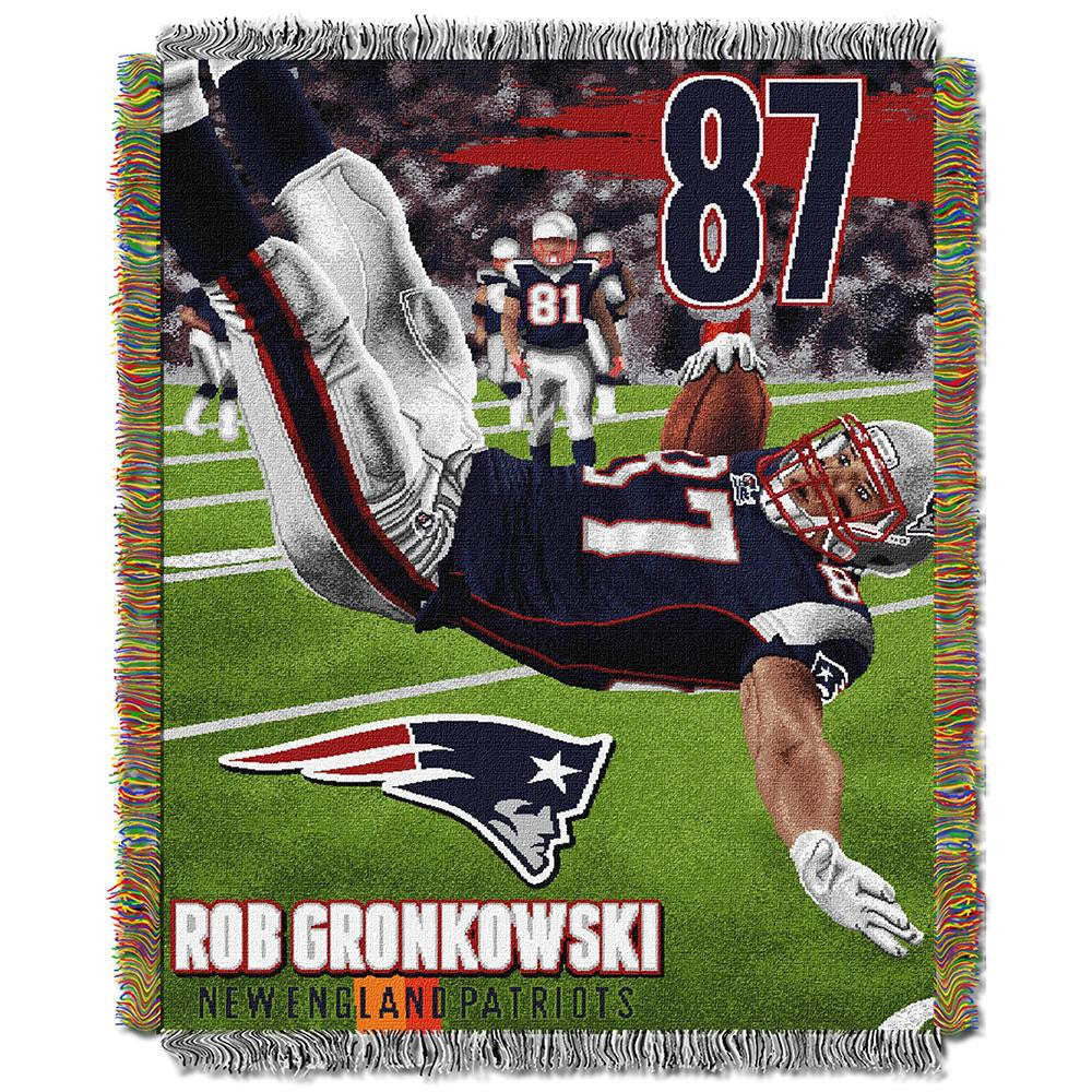 Rob Gronkowski New England Patriots NFL Woven Tapestry Throw Blanket (48inx60in)