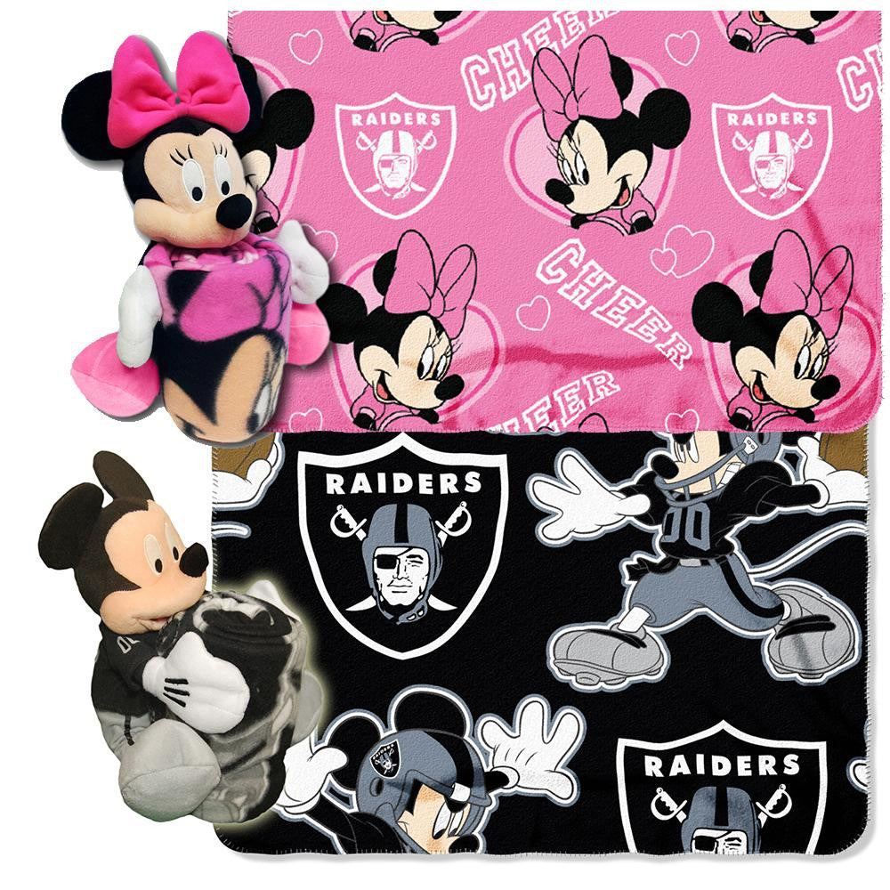 Oakland Raiders NFL Mickey and Minnie Mouse Throw Combo