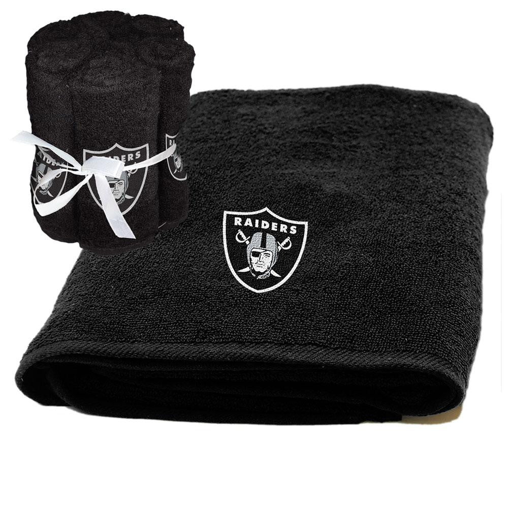 Oakland Raiders NFL Applique Bath Towel and 6 Pack Washcloth Set xyz
