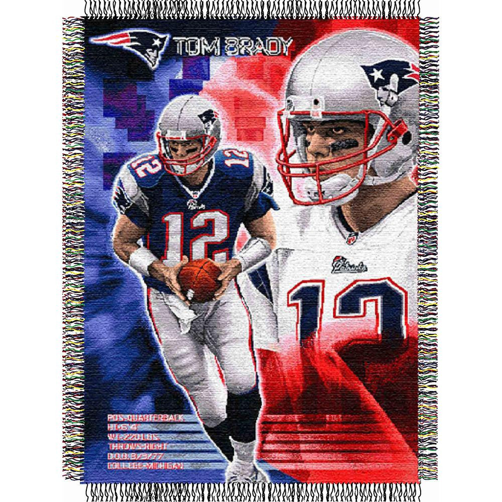 Tom Brady #12 New England Patriots NFL Woven Tapestry Throw Blanket (48x60)