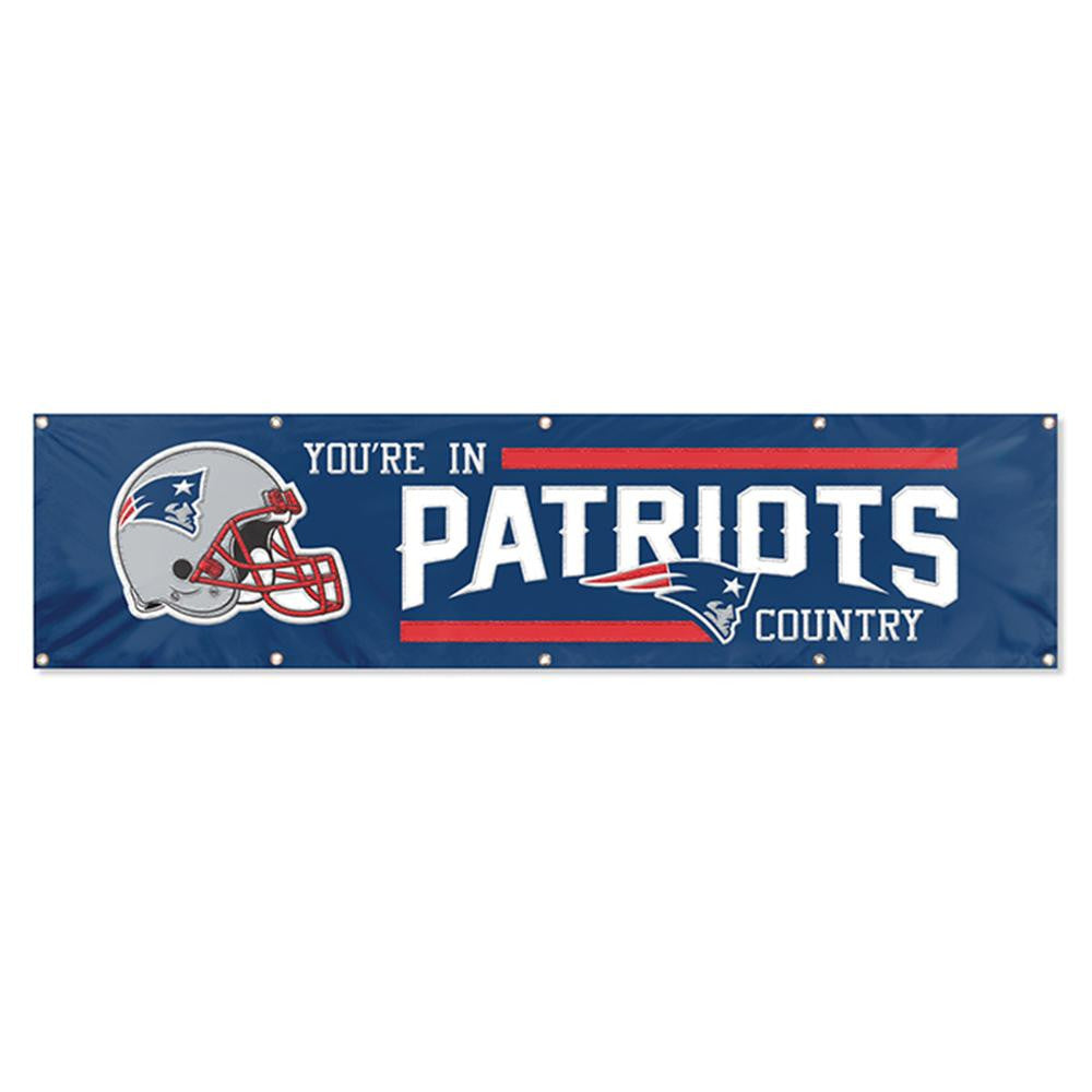New England Patriots NFL Applique & Embroidered Party Banner (96x24)