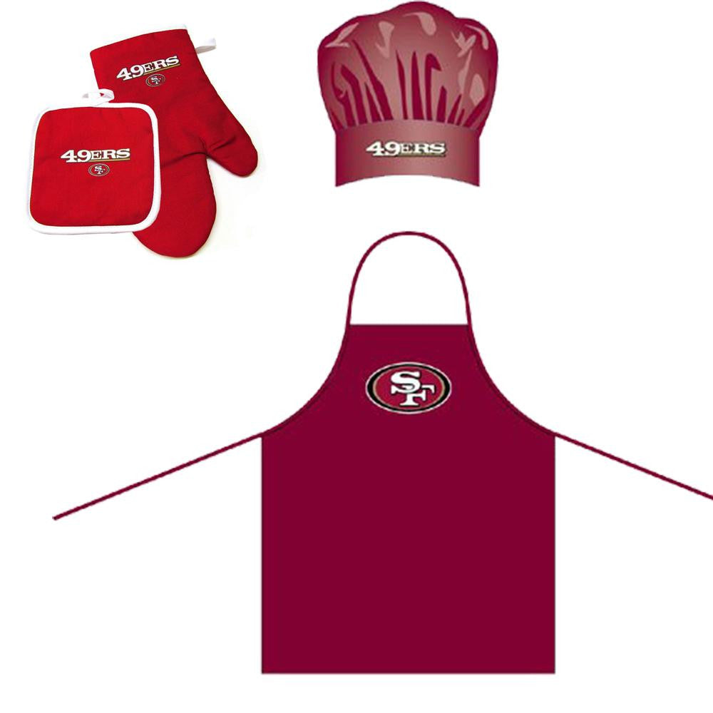 San Francisco 49ers NFL Barbeque Apron, Chef's Hat and Pot Holder Deluxe Set
